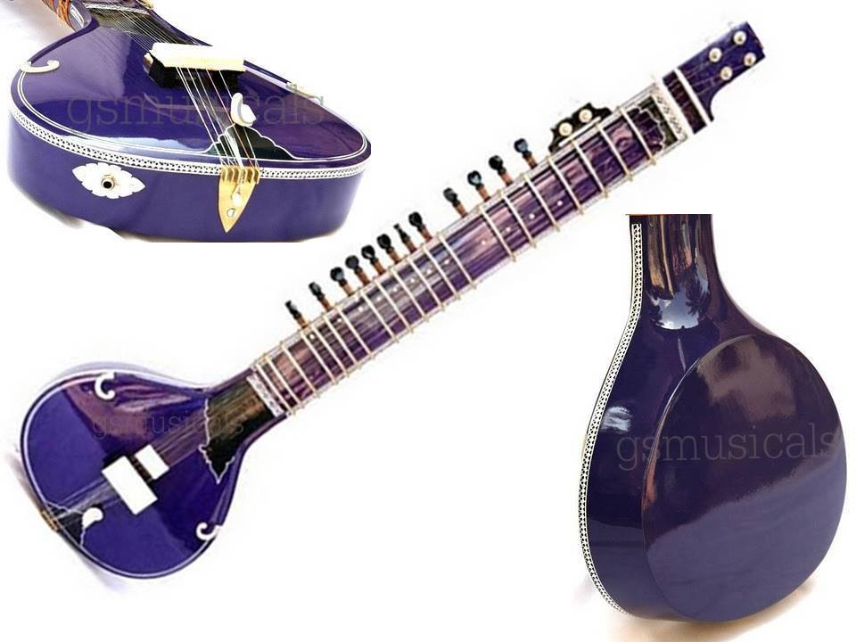 SITAR BLUE FUSION ELECTRIC STUDI WITH FIBERGLASS CASE GSM013 CA