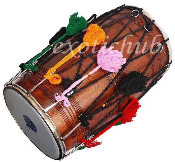 PUNJABI BHANGRA DHOL DRUMS~DARK SHEESHAM WOOD~PLAYING STICK~DHOLAK~GREAT SOUND