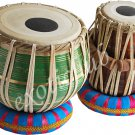 BUY TABLA DRUMS~GREEN COLOR BRASS BAYAN 2.5 KG.~SHESHAM WOOD DAYAN~GREAT SOUND