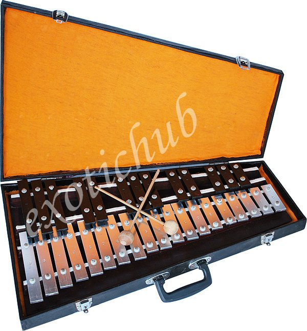 XYLOPHONE~INDIAN PATTI TARANG~BELL~WITH PLAYING STICKS AND CARRY BOX