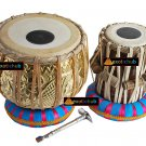 TABLA DRUMS~DESIGNER GOLDEN BRASS 2.5 KG BAYAN~SHEESHAM DAYAN~PROFESSIONAL SET
