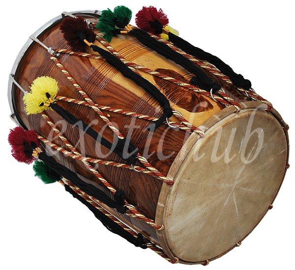 NEW DHOL DRUM~PUNJABI BHANGRA~SHEESHAM WOOD~PLAYING STICKS~GREAT SOUND~DHOLAK