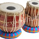 BUY BRASS TABLA DRUM SET~RED PAINTED BAYAN~CAN PLAY WITH HARMONIUM, SAROD, ESRAJ