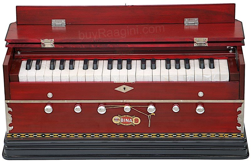 NEW BINA� NO.9A HARMONIUM/COUPLER/42 KEY/INDIAN/3½ OCTAVES/MULTI-FOLD/BAG/BCB-1