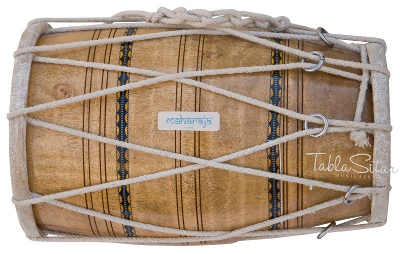 MANGO WOOD DHOLAK MAHARAJA� ROPE TUNED INDIAN DHOLKI FREE SHIPPING/AJE-01