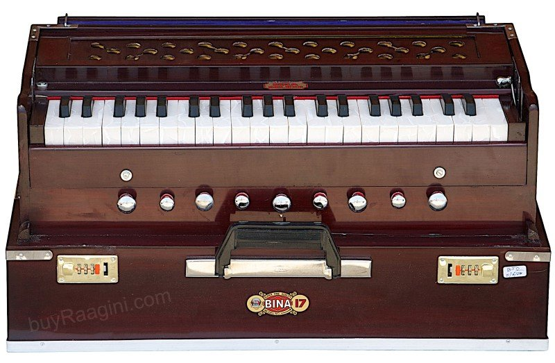 HARMONIUM BINA NO.17/DELUX FOLDING/COUPLER FUNCT./42 KEY/INDIAN/BOOK/BAG/AGG-1