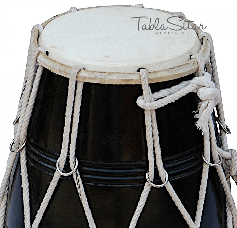 MAHARAJA� MANGO WOOD BLACK DHOLAK/ROPE TUNED/INDIAN DHOLKI/DHOLKI WITH BAG/CJB-2