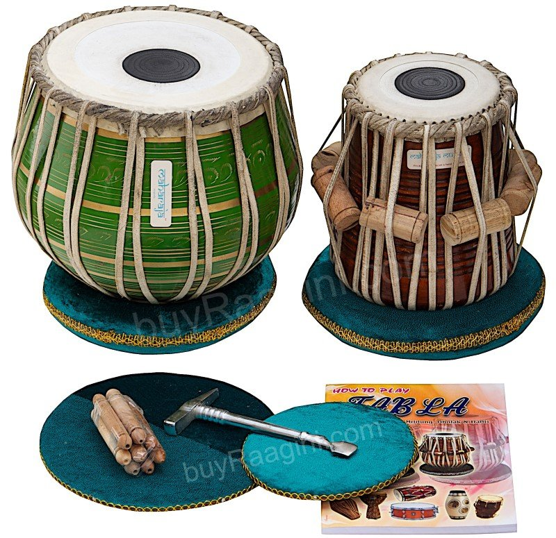 TABLA SET/MAHARAJA�/GREEN BRASS BAYAN 3KG/SHEESHAM DAYAN/FREE SHIP/DRUMS/CHB-01