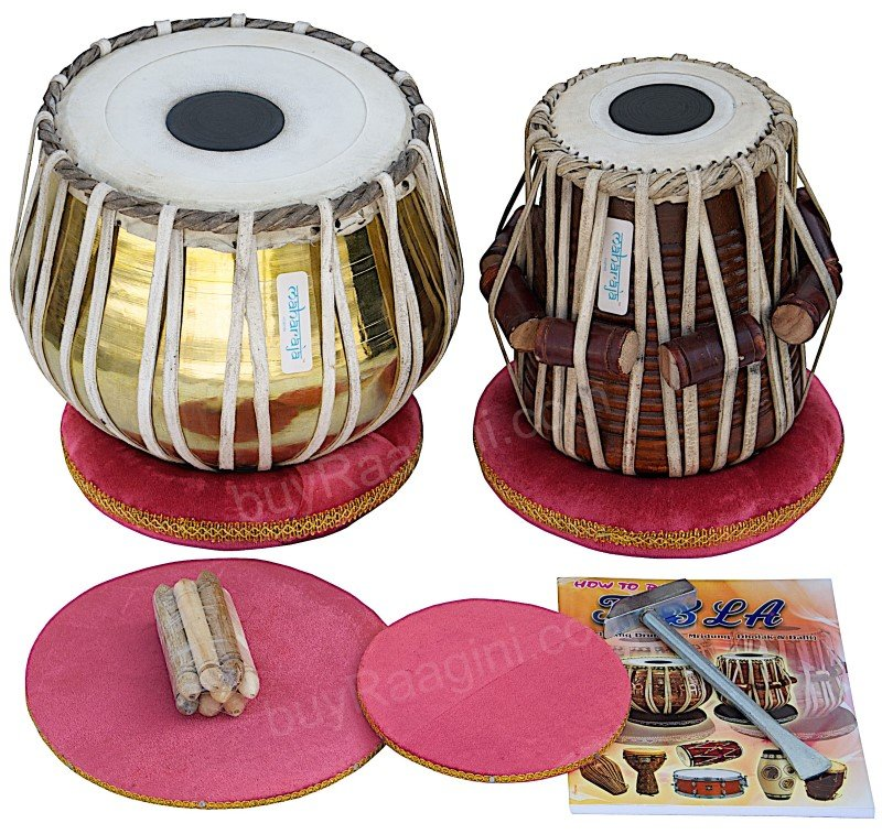 TABLA SET MAHARAJA� GOLDEN/BRASS BAYAN 3KG/SHEESHAM DAYAN/CUSHIONS/USA RTN/CH