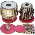 TABLA SET MAHARAJA™ GOLDEN/BRASS BAYAN 3KG/SHEESHAM DAYAN/CUSHIONS/USA RTN/CH