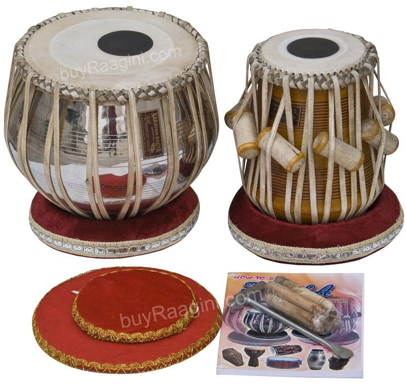 TABLA SET SHYAMAL DAS/3.5KG/NEW FLORAL CHROMED COPPER BAYAN/MAHOGANY DAYAN/ECF-1
