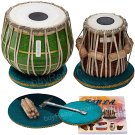 TABLA SET/MAHARAJA™/GREEN BRASS BAYAN 3KG/SHEESHAM DAYAN/INDIAN DRUMS/CHB-02