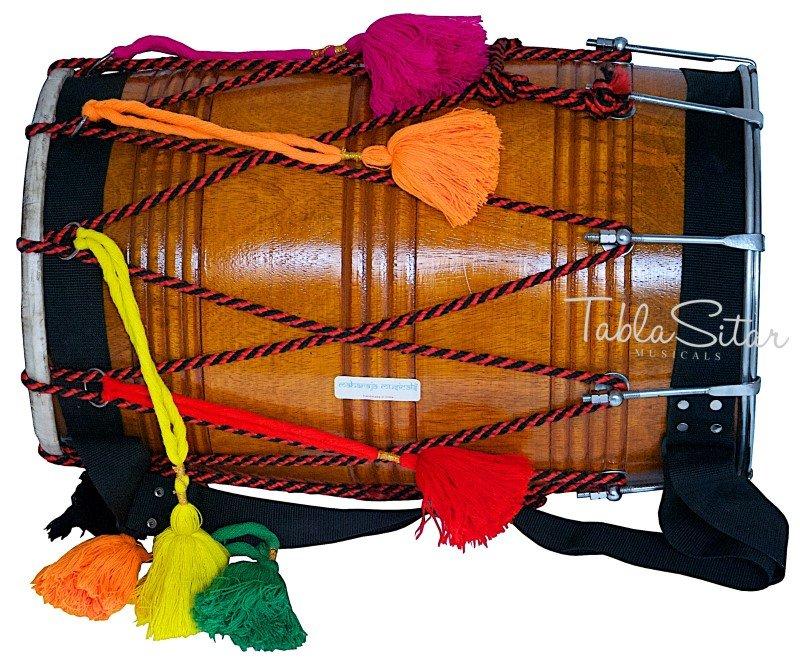 MAHARAJA�PUNJABI DHOL/NATURAL MANGO WOOD/SYNT-GOATSKIN HEADS/DHOL FOR SALE-GE-2