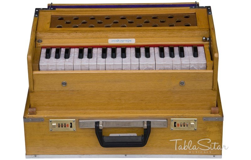 HARMONIUM No. 6001t/MAHARAJA/TEAK WOOD/FOLDING/2 REED/COUPLER/2.75 OCTAVE/EJG