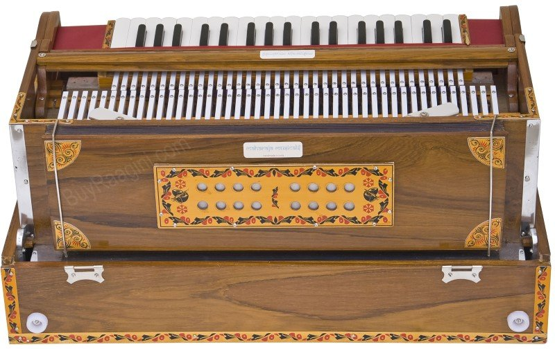 HARMONIUM/6200tn CALCUTTA/MAHARAJA/3 REED/9 SCALE CHANGER/FOLDING/TEAK/BOOK/AGI