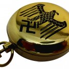 POLISHED BRASS NAZI GERMANY KRIEGSMARINE SWASTIKA ART GERMAN ROSE HEAVY BRASS COMPASS w LEATHER CASE