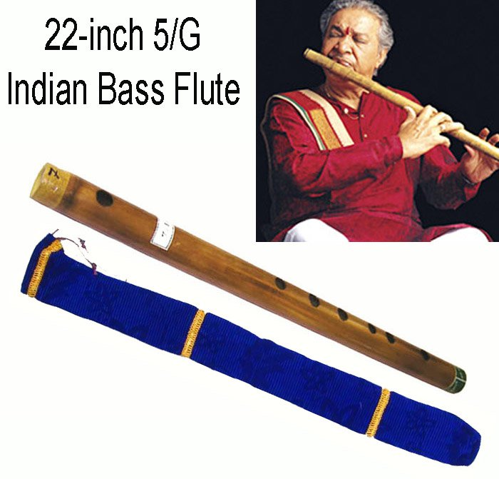 FLUTE MAHARAJA/CONCERT/SCALE A NATURAL BASS 23.5 IN./FINEST BAMBOO BANSURI/CEA-2