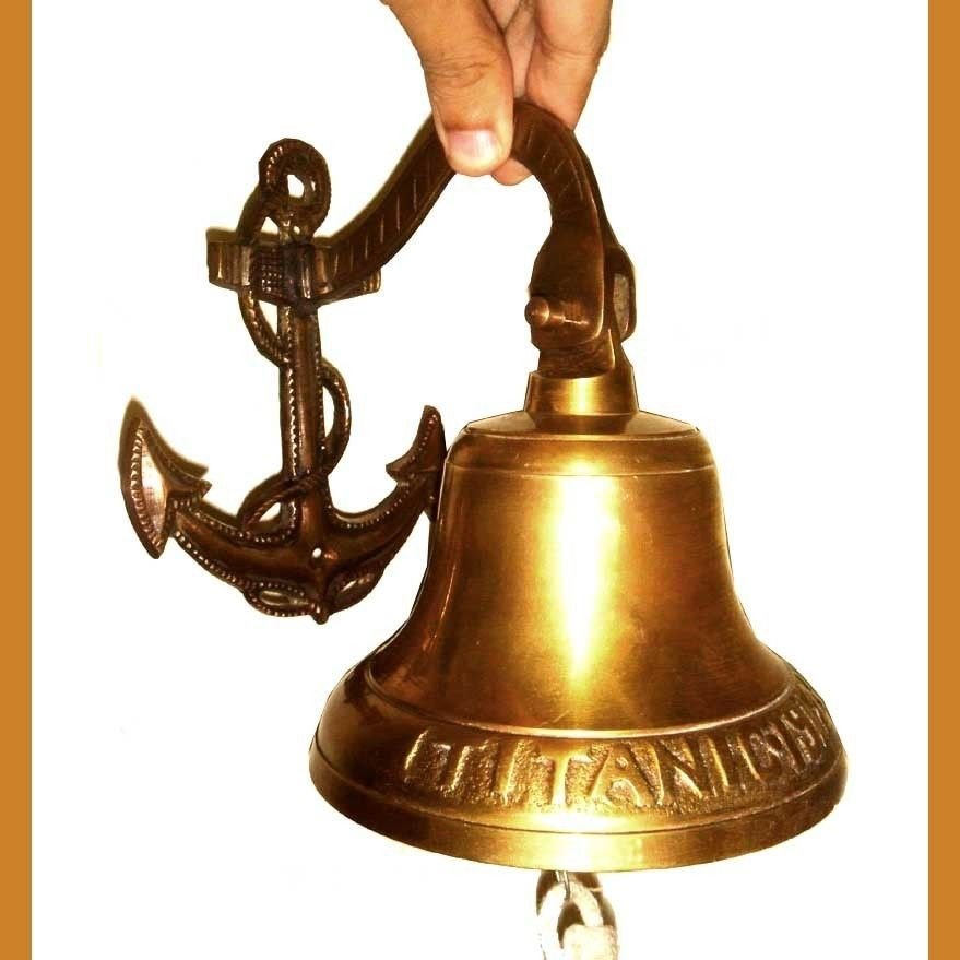 TITANIC 1914 SHIP BELL RE-CREATION BRONZE w ENGRAVED ANCHOR MOUNT & LANYARD ROPE
