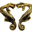 ANTIQUE FRENCH-MADE WHIMISICAL DINOSAUR /  DRAGON BRONZE DOUBLE DOOR HANDLES