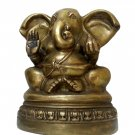 FANTASTIC 1960s HINDU GANESHA ELEPHANT GOD ARTISTIC BIG COLLECTIBLE BRASS STATUE