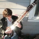 ROSEWOOD ELECTRIC SITAR GUITAR FUSION. BEAUTIFULLY CARVED. TWIN PICKUPS + DVD