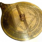 VINTAGE FRENCH ASTRONOMICAL ASTROLABE ON TEAK DISPLAY STAND IN ANTIQUATED BRASS