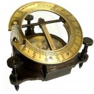 FANTASTIC 5-INCH LATITUDINAL SUNDIAL COMPASS IN ANTIQUATED BRASS w LEATHER CASE