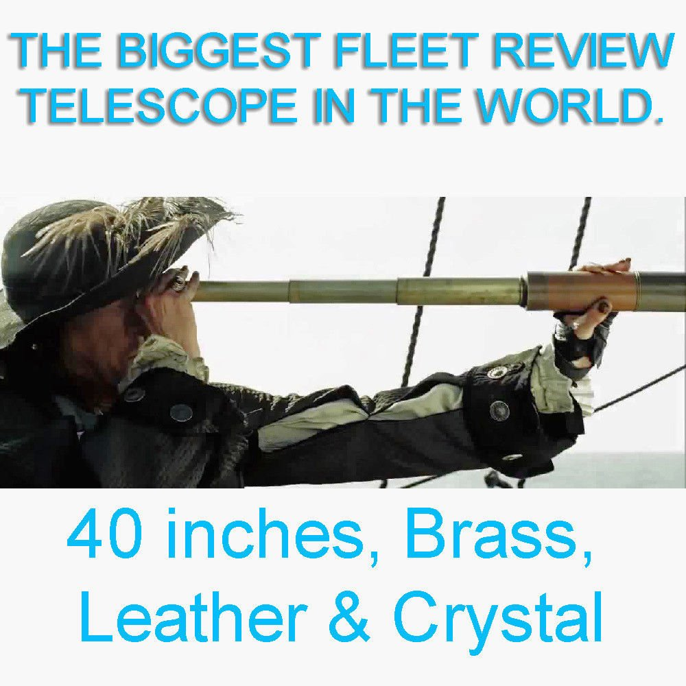 GIGANTIC 40-INCH 32x VINTAGE BRASS & LEATHER FLEET REVIEW ADMIRALTY TELESCOPE