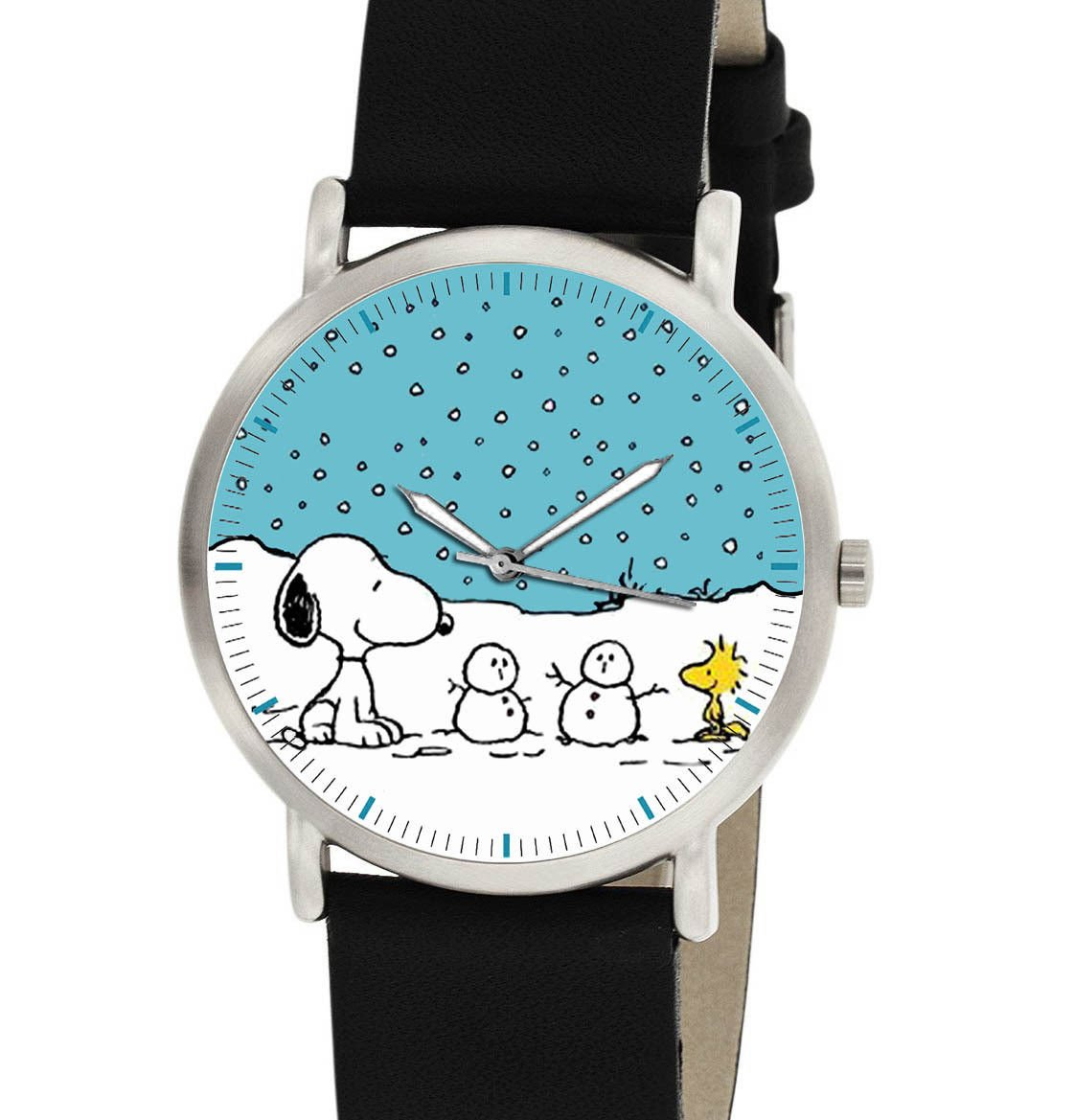 SNOOPY WOODSTOCK SNOW CHRISTMAS ART VINTAGE UNITED FEATURES 30 mm PEANUTS WATCH