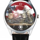 VINTAGE COLORS US ARMY WW-II MOTOCYCLE MESSENGER SERVICE TRIBUTE ART WRIST WATCH