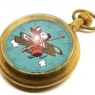 SNOOPY vs RED BARON SOPWITH CAMEL TEAL BIPLANE VINTAGE PEANUTS UFS POCKET WATCH