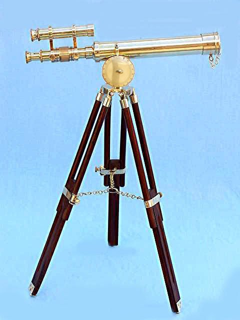 CLASSIC GILBERT LONDON 18-INCH DOUBLE TELESCOPE IN HEAVY BRASS + ROSEWOOD TRIPOD