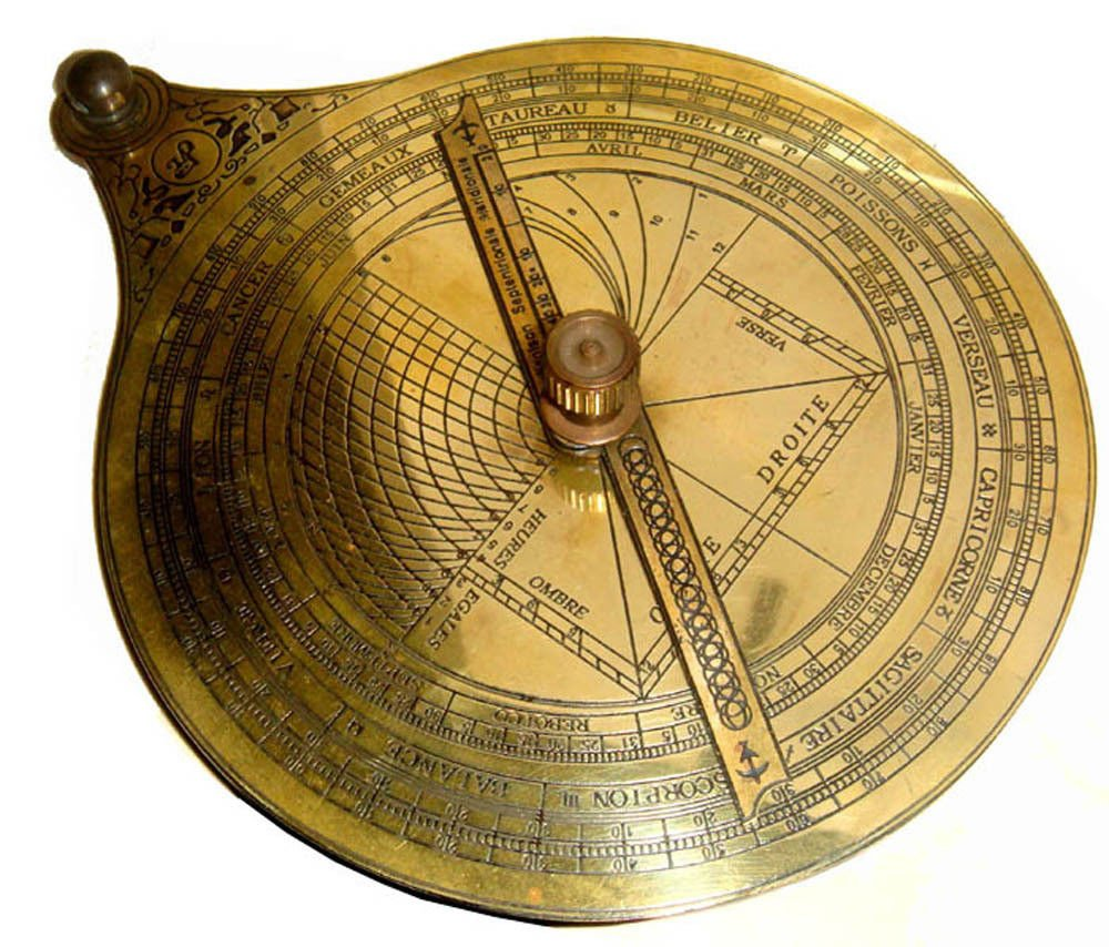 CLASSIC  FRENCH ASTRONOMICAL ASTROLABE ON TEAK DISPLAY STAND IN ANTIQUATED BRASS