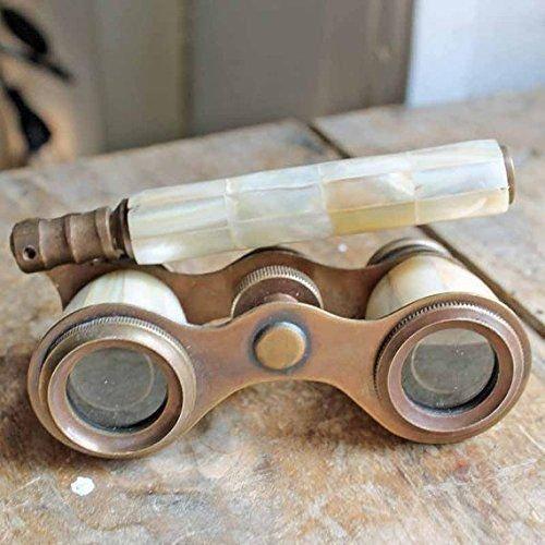 "BEAUTIFUL VINTAGE 3"" BRASS OPERA GLASS BINOCULARS w REAL MOTHER OF PEARL INLAY"