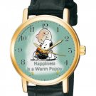 STUNNING VINTAGE COLOURS HAPPINESS IS A WARM PUPPY CHARLIE BROWN PEANUTS WATCH