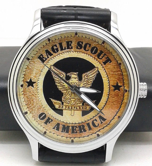 CLASSIC AMERICAN EAGLE SCOUT WOODCUT ART BOY SCOUTS 40 mm CHROMED BRASS WATCH