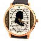 WOLFGANG AMADEUS MOZART CLASSICAL MUSIC NOTATION COLLECTIBLE 40 mm WRIST WATCH