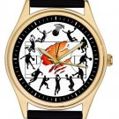 BRILLIANT ORIGINAL BASKETBALL COLLAGE ART COLLECTIBLE 40 mm SPORTS WRIST WATCH