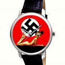 VINTAGE DUTCH ART MICKEY MOUSE ANTI-WAR POP ART COLLECTIBLE 40 mm WRIST WATCH