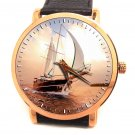 STUNNING SAILBOAT SCHOONER SUNSET ART LARGE 40 mm SOLID BRASS COLLECTIBLE WATCH