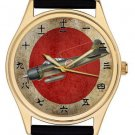 MITSUBISHI ZERO FIGHTER JAPANESE ART KANJI DIAL NIPPON SUN 40 mm WRIST WATCH