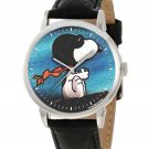 SNOOPY VERSUS THE RED BARON STUNNING TEAL BLUE IMPRESSIONIST ART WRIST WATCH