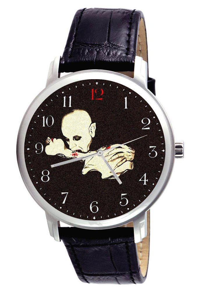 VINTAGE VAMPIRE DRACULA BLOOD-SPLATTERED HORROR ART COLLECTIBLE WRIST WATCH