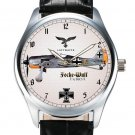 LUFTWAFFE FOCKE-WULFE FW-190A COMMEMORATIVE WW-II AVIATION ART BRASS WRIST WATCH