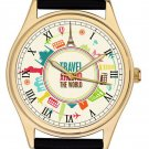 STUNNING CLASSIC COLORFUL WORLD TRAVELER'S COLLECTIBLE JUMBO 40 mm WORLD WATCH