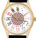 STUNNING PLAYING CARDS POKER GAMBLING ART LARGE 40 mm COLLECTORS WRIST WATCH
