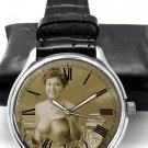 EROTIC 1920s FRENCH POSTCARD ART COLLECTIBLE 40 mm SEPIA & CHROME WRIST WATCH