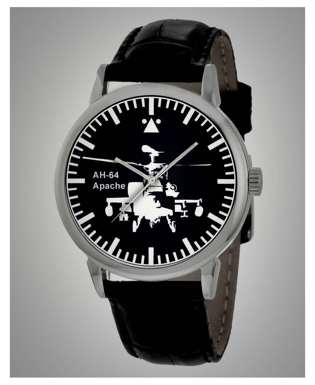 CLASSIC APACHE AH-64 ATTACK HELICOPTER US ARMY SILHOUETTE ART WRIST WATCH, MINT!