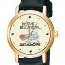 INSTANT NICE PERSON -  JUST ADD COFFEE! VINTAGE ZIGGY COMIC ART WRIST WATCH