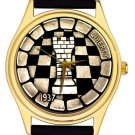 VINTAGE CHEQUERED CHESS MEDALLION ART ROOK 40 mm COLLECTIBLE WRIST WATCH